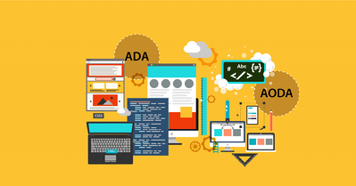 Illustrated webinar design showing multiple device and content types, tools and gears, and ADA and AODA symbols.