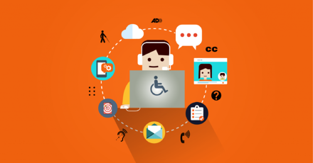Illustrated webinar design showing multiple digital icons surrounding person wearing a headset using a laptop with an accessibility symbol on it.