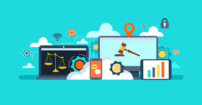 Illustrated webinar design showing legal concepts, like scales of justice and a gavel, on digital devices.