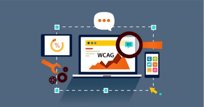 Illustrated webinar design showing digital tools and devices, with WCAG on the main laptop.