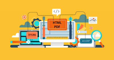 Illustrated webinar design showing concept of behind-the-scenes website icons, like Styling, HTML, and PDF.