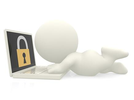 3D man with a laptop - online security concepts