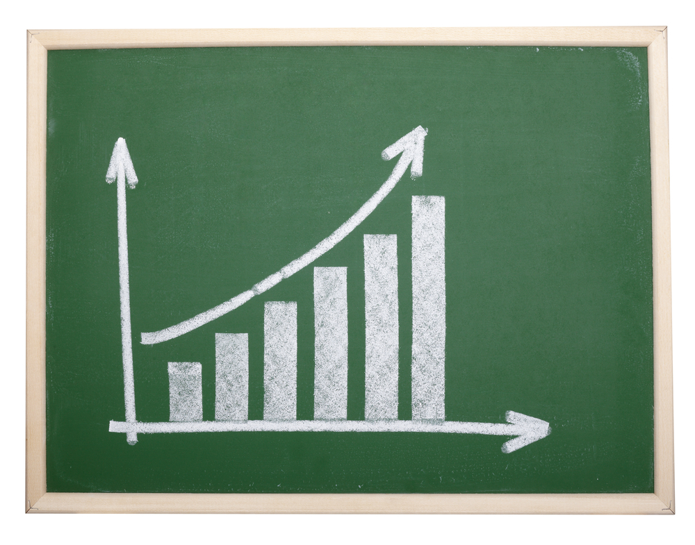close up of chalkboard with finance business graph.